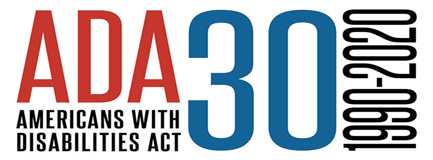 ADA in red 30 in blue with black text reading Americans with disabilities act 1990 to 2020