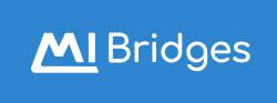 MI Bridges logo with white text on azure blue background