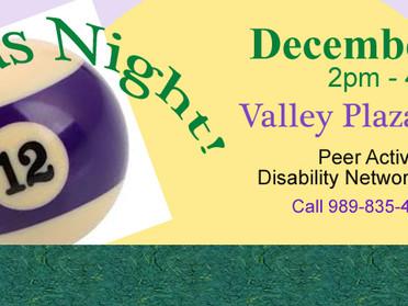 Billiards Night! - Peer Activities Group - December 12th, 2pm-4:30pm