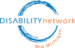 disability network of mid-michigan logo in blue and orange