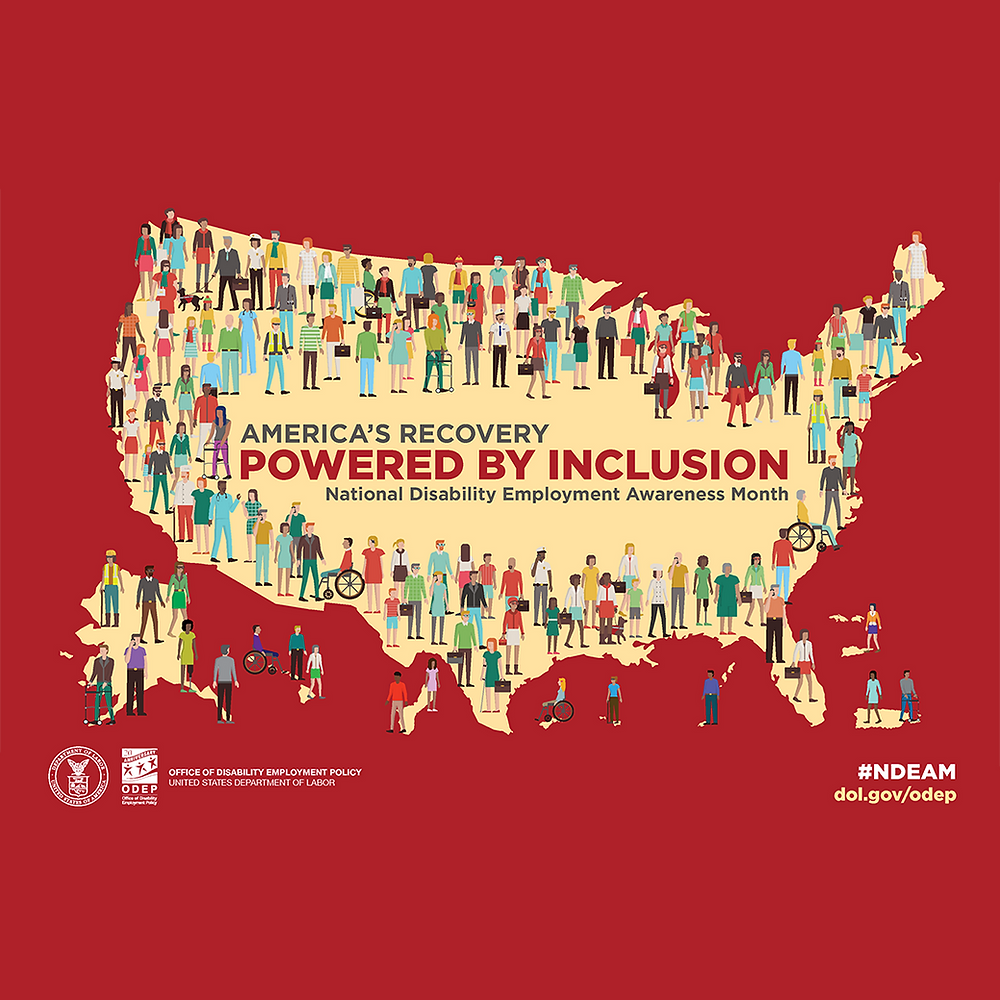 America's Recovery Powered by Inclusion show map of United States with people of various ethnicities and abilities