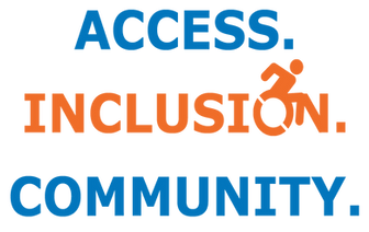 Access. Inclusion. Community. written in blue and orage.