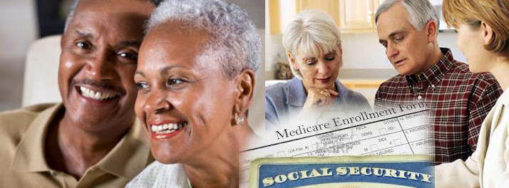 Shows an african american couple at left and a Caucasian couple at right speaking with medicare specialist