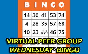 virtual peer group wednesday bingo shows bingo game card in background