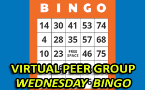 virtual peer group wednesday bingo shows bingo game card in background