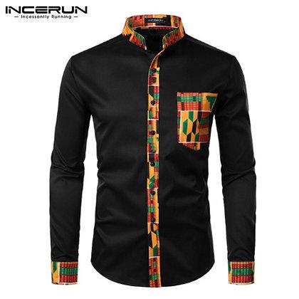 INCERUN Men Dashiki African Style Shirts Business Casual Ethnic Print Dress Shi
