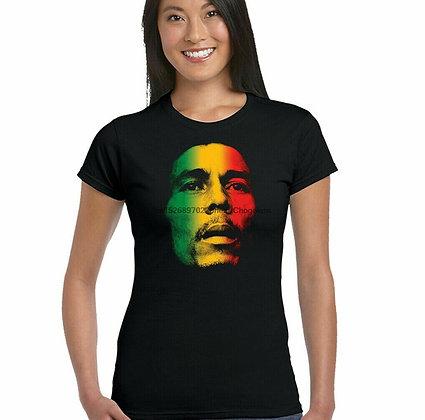 Bob Marley Multi Coloured Face - Womens T-Shirt Reggae Jamaica