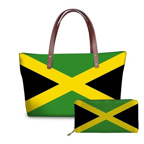 National Jamaica Flag Pattern Women Bag  Casual Shoulder Bag Totes Bags Wallet