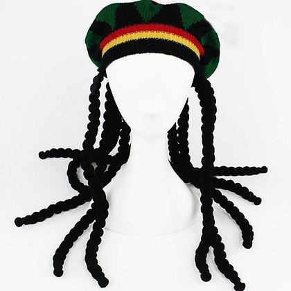 Hip Hop Cap Knitted Wig Braid Hat Male Jamaica Beanie Winter  Dreadlocks Reggae