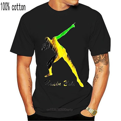 Men T Shirt Usain Bolt Jamaica Man Funny T-Shirt Novelty Tshirt Women