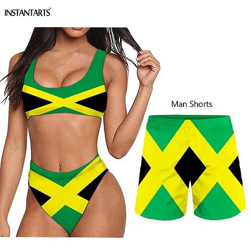 Summer Female Male Couple Swimming Suits Jamaica Flags Print & Woman Bikini Set