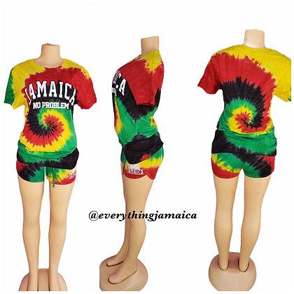 Jamaica Rasta tyedye Ladies Shorts set