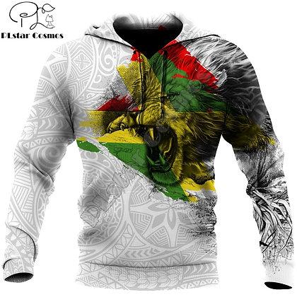 Jamaica Lion Roar 3D All Over Printed Mens Hoodies Fashion Hoodie Unisex Jacket