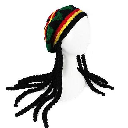 Knitted Wig Braid Hat Hip Hop Cap Unisex Dreadlocks Wig Knitted Beanie Hat Head