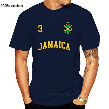 2019 Summer Fashion Jamaica Shirt Number 3 BACK Soccers  Jamaican Flag T Shirt
