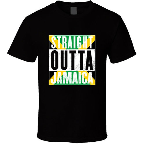 Straight Outta Jamaica. Jamaican T-Shirt Men Trendy Hot Sale High Quality
