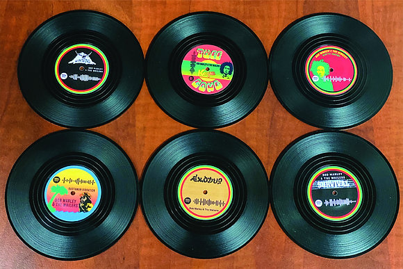 Bob Marley Spotify Code Vinyl Coasters + Turntable Holder Bob Marley & The Wail