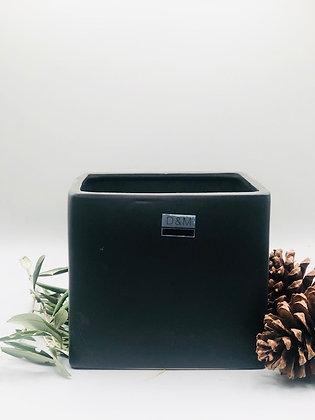 Grand pot noir carré