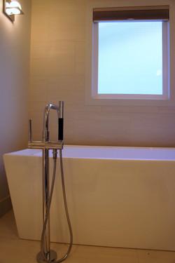 stand-alone tub in modern bathroom