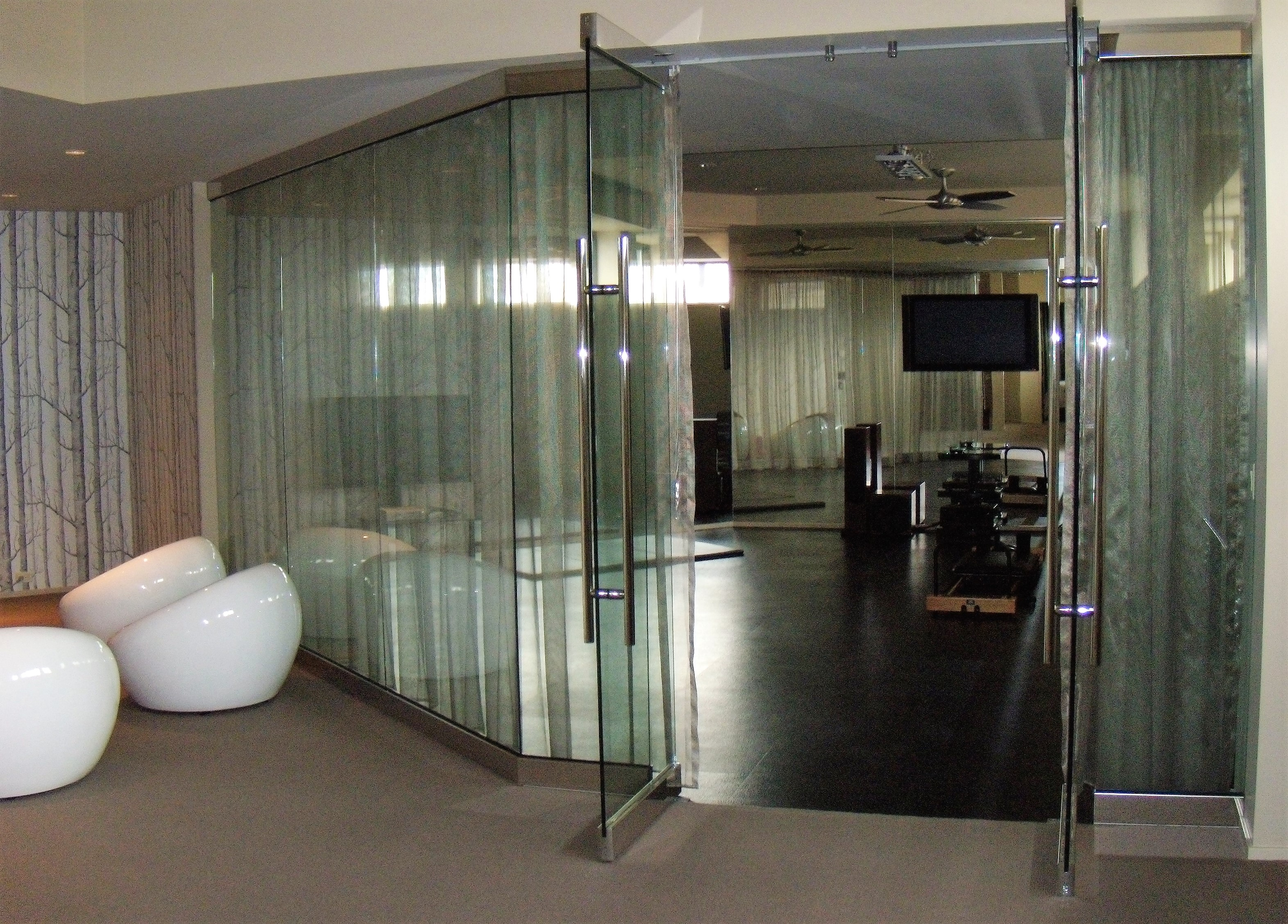 glass walls separating spaces