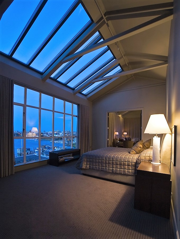 angled skylights in master suite