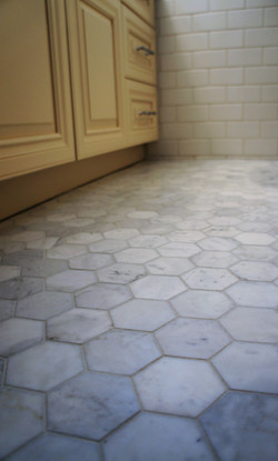 classic tile accents in bathroom