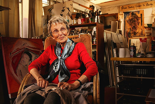Abstract painter, Nel Erasmus in her Melville home art studio. (Photo Credit: Chris Preyser, Johannesburg, 2016).