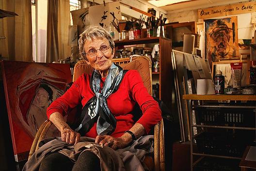 Abstract painter, Nel Erasmus in her Melville home art studio. (Photo Credit: Chris Preyser, Johannesburg, 2016).