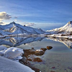 Lofoten, Norway sea and mountain.