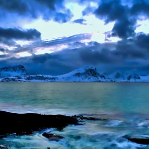 Lofoten, Norway emerald green sea.