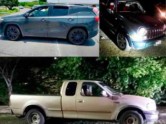 Recuperan tres camionetas robadas