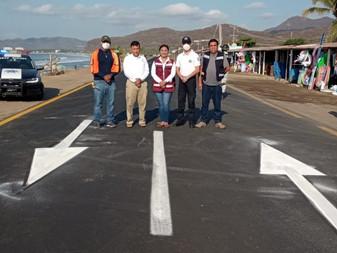 Concluye pavimentación y balización en el tramo Miramar - Peñitas