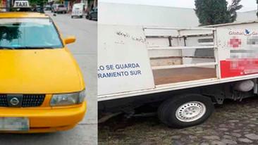 Recuperan taxi y camioneta con reporte de robo