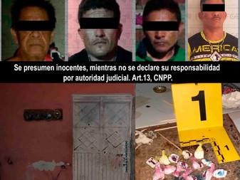 Detienen a cuatro hombres y  asegura droga e inmueble en Tecomán y Armería