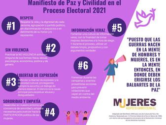 """Presenta """"Mujeres Agentes de Cambio"""", Manifiesto de Paz y Civilidad en el Proceso Electoral 2021"""