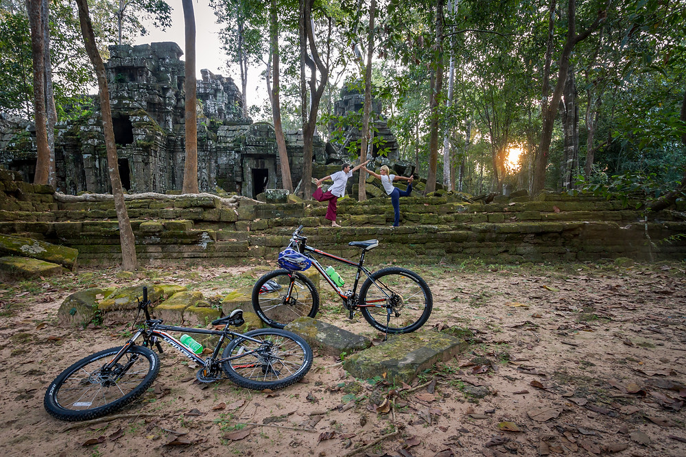Cycling and yoga in Cambodia