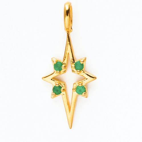 Estella Star Charm -Green agate