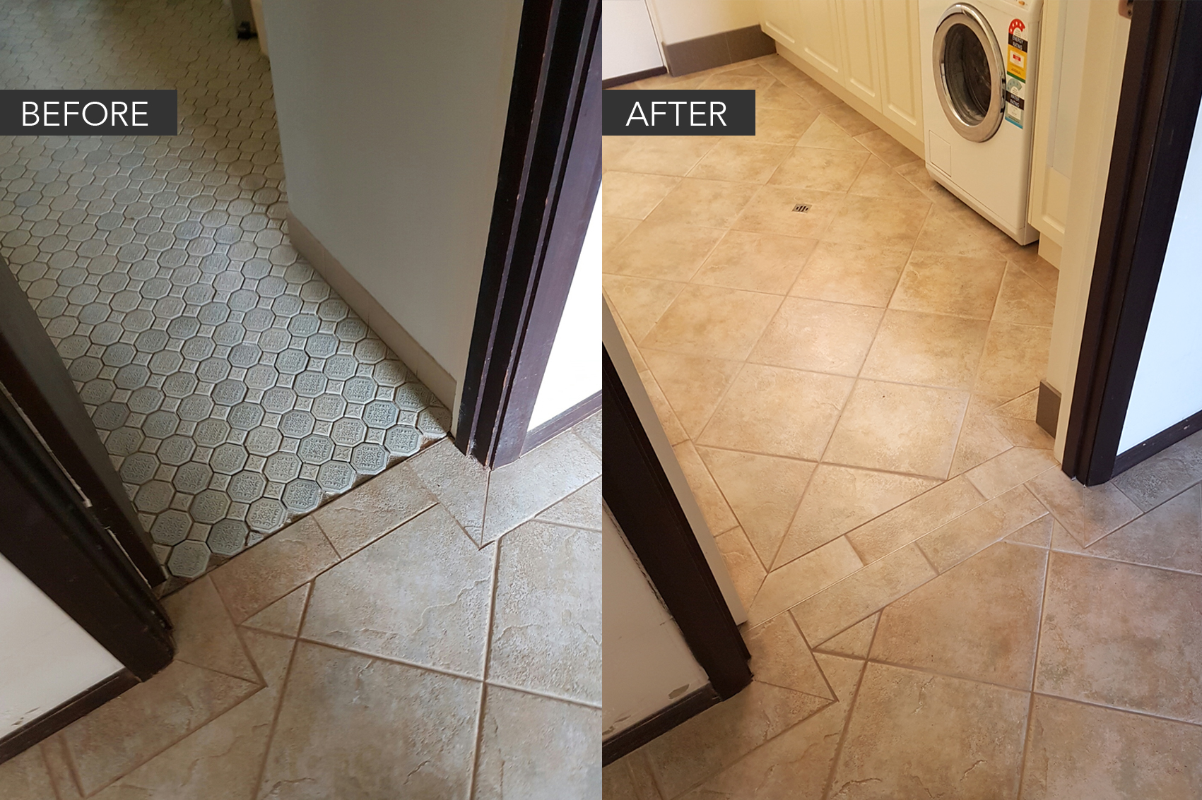 Tiling before & after