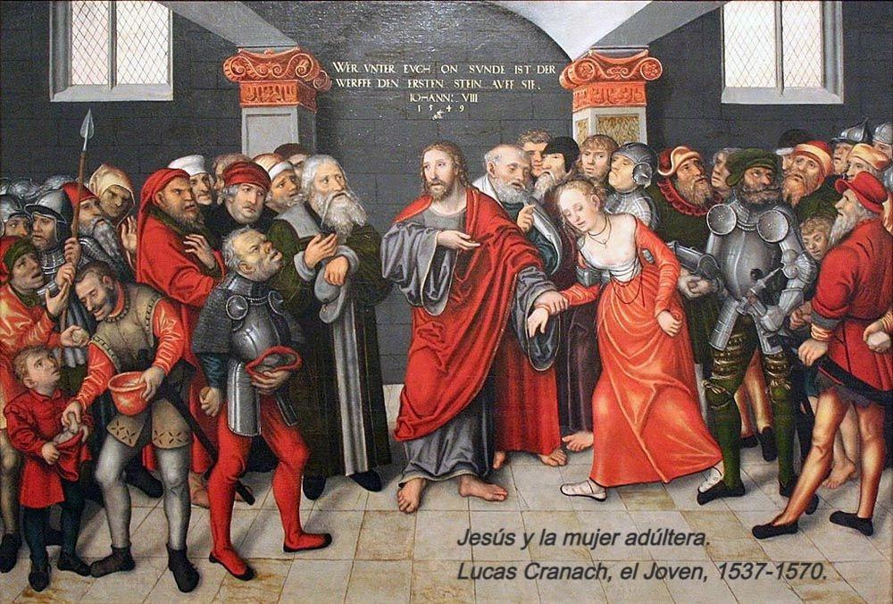 Quien esté libre de pecado de obra, arroje contra ella la primera piedra: Juan en 8, reza la leyenda en la parte superior de esta tabla. Jesús y la mujer adúltera es un tema emblemático en la obra de los Cranach.
