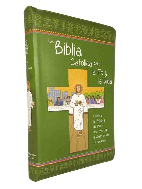 BIBLIA CATÓLICA PARA LA FE Y LA VIDA. EDICIÓN SIMIPIEL VERDE CON CIERRE
