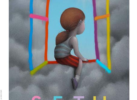 """Vitrail de l'atelier au sein de l'exposition """"A Capella"""", Seth"""