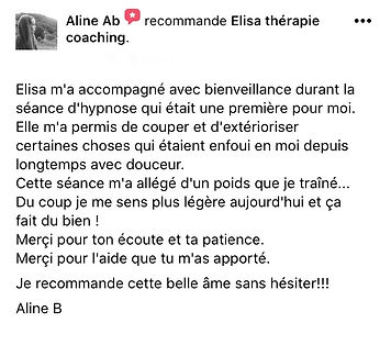 25 - hypnotherapeute paris avis - Aline B hypnose humaniste avis avis hypnose temoignage a distance en ligne