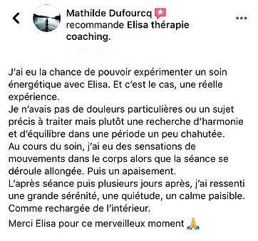 Avis soin énergétique à distance Mathilde Elisa Erin