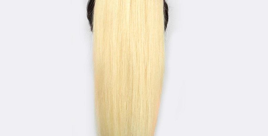 Angel Beauty - blond rovný culík z pravých vlasů (60/70 cm)
