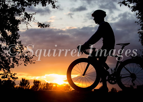Cycling Sunset 2 - Greetings Card