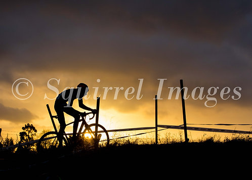 Cycling sunset - Greetings Card