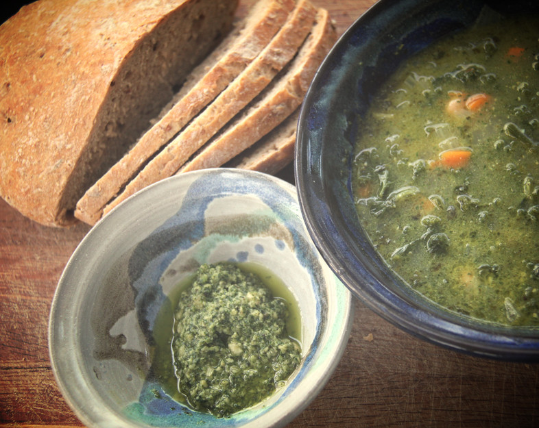 Eat in the heat #5 Summer minestrone with kale pesto