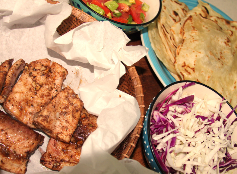 Eat in the heat: #3 Fish tacos with homemade tortillas, pickled cabbage and salsa