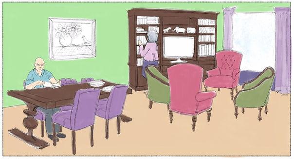 In de woonkamer heerst rust, ruimte en overzicht voor mensen met dementie, maar ook ruimte voor een eigen plekje