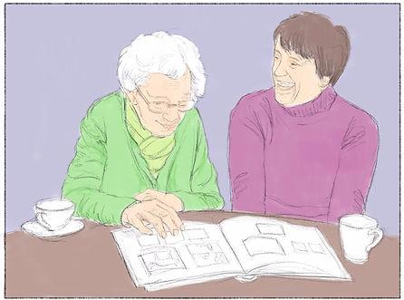 Samen foto's bekijken of verhalen voorlezen met mensen met dementie